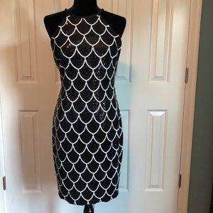 Cache Sequin Scallop Dress